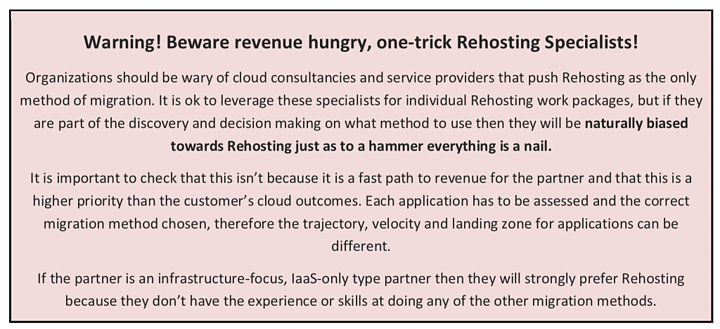 Beware revenue hungry, one-trick Rehosting Specialists