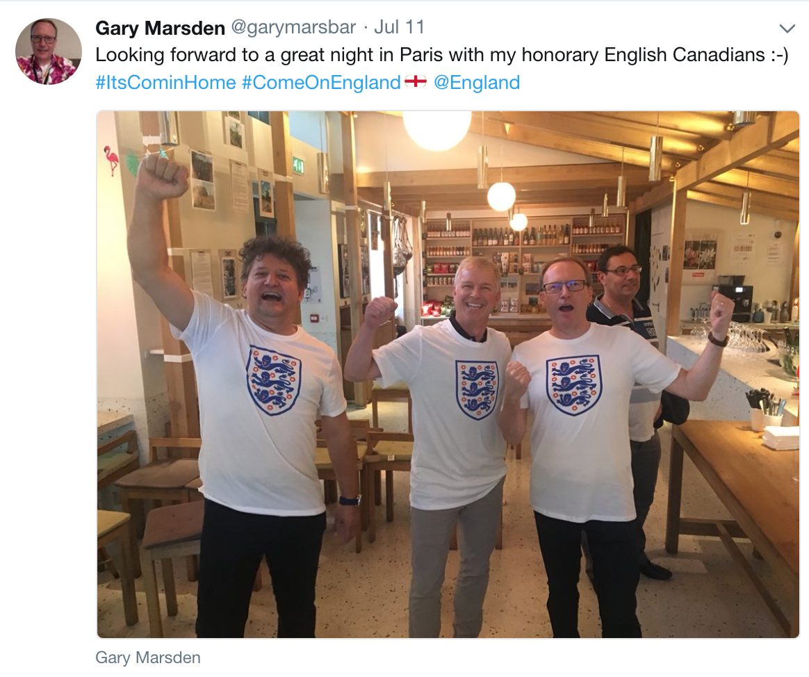 The Gemalto and Cloudsoft teams in Paris watching England in the World Cup