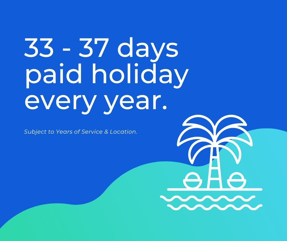 33-37 days paid holiday every year